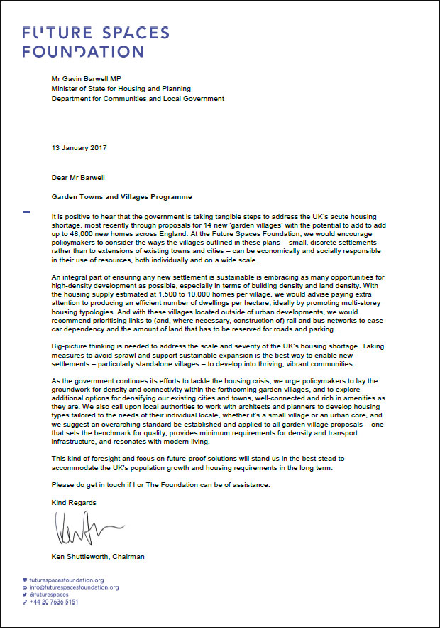 Garden towns and villages letter to government